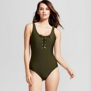 Green one piece lace up olive green